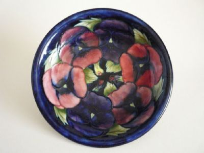 William Moorcroft Cobalt Blue 'Pansy' Plate c1920